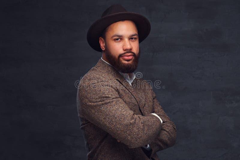Retrato do estúdio do homem afro-americano considerável em um revestimento e em um chapéu marrons elegantes imagens de stock royalty free