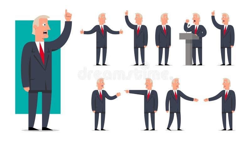 Retrato do estilo dos desenhos animados do homem de negócios, do político e do presidente ilustração royalty free