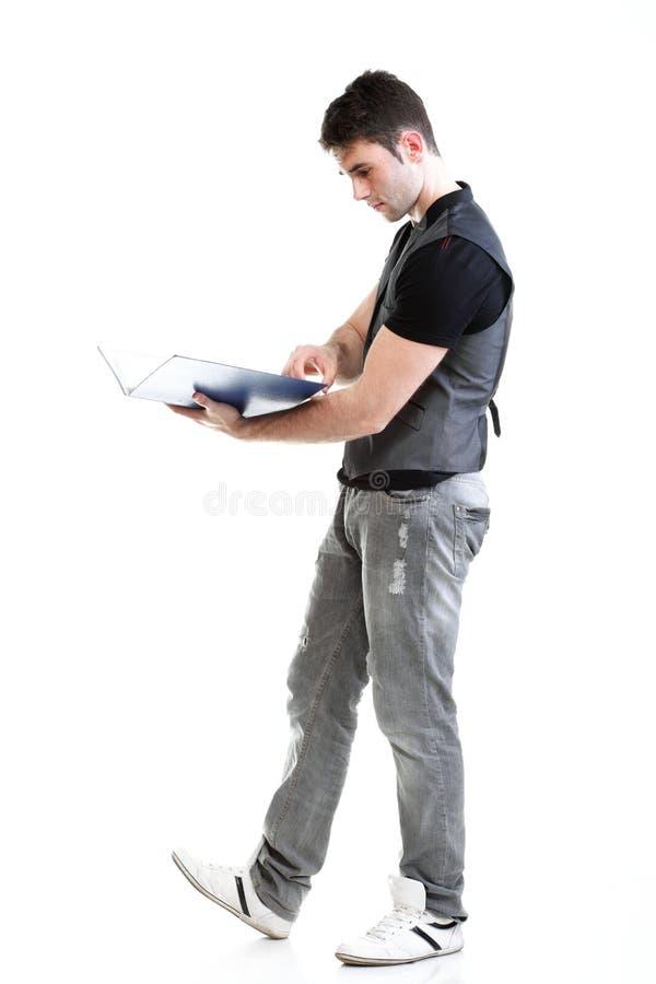 Retrato do estudante masculino novo, bem sucedido, feliz Isolated imagem de stock
