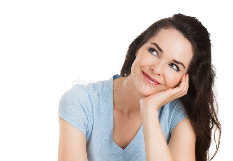 Retrato do Fim-acima da mulher de pensamento imagem de stock royalty free