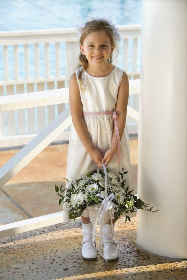 Retrato do flowergirl. fotografia de stock