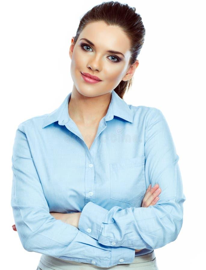 Retrato do fundo branco seguro da mulher de negócio isolado foto de stock royalty free