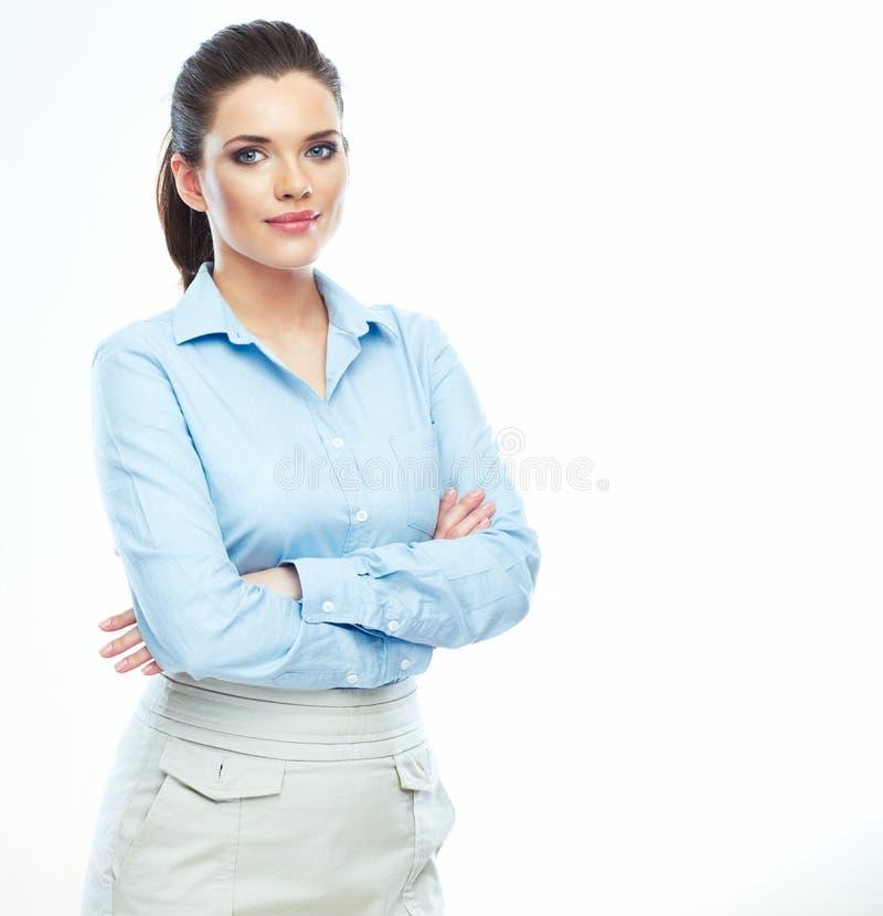 Retrato do fundo branco seguro da mulher de negócio isolado fotos de stock