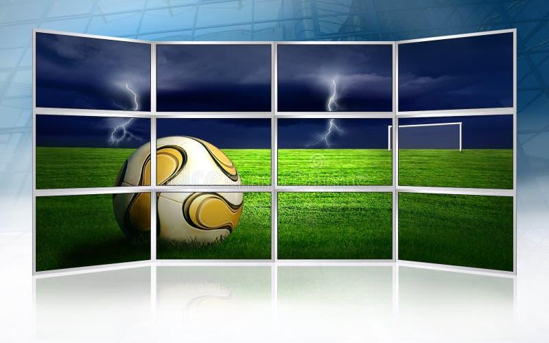Retrato do futebol em monitores ilustração do vetor