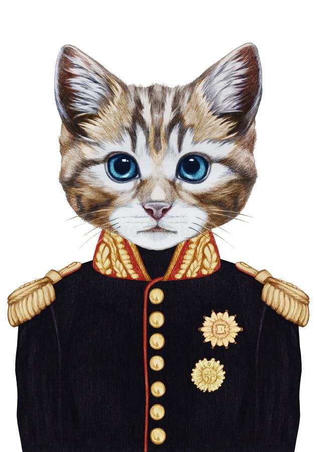 Retrato do gato no uniforme militar ilustração do vetor