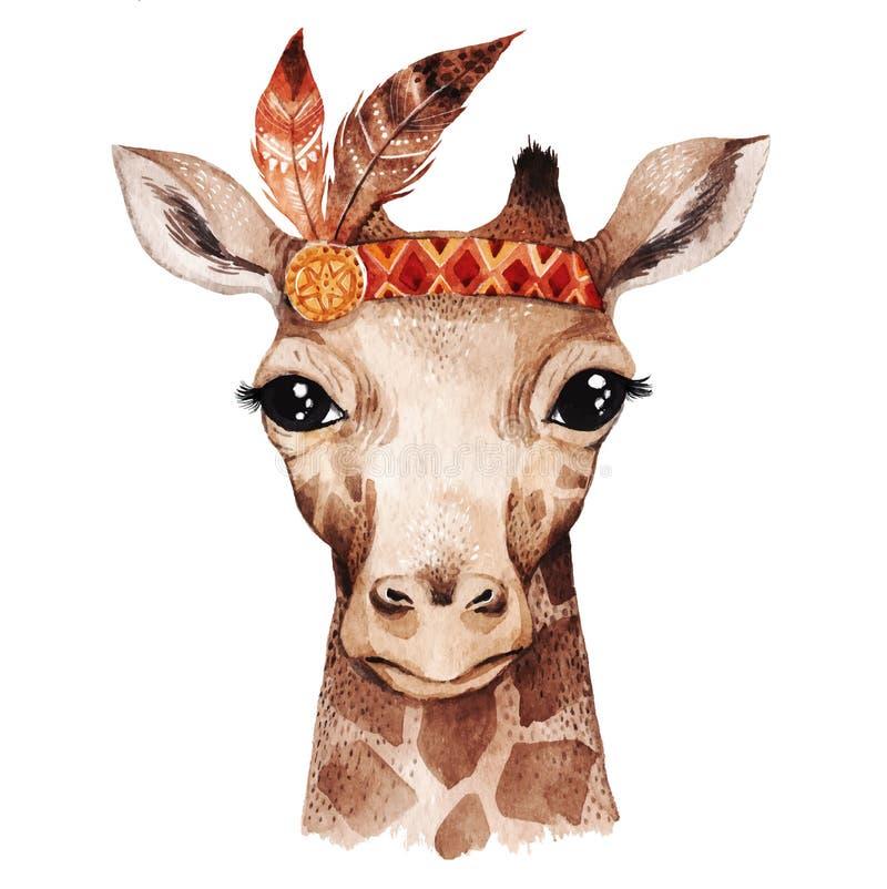 Retrato do girafa da aquarela ilustração do vetor