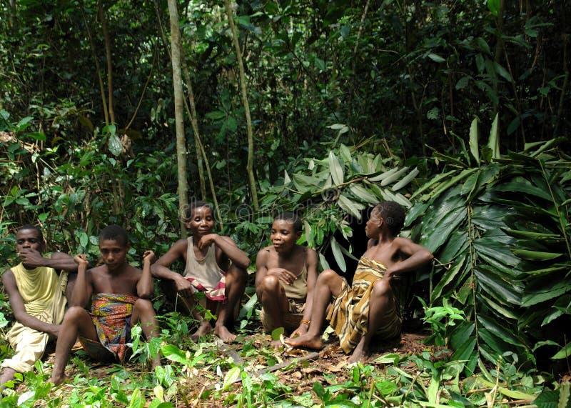 Retrato do grupo da selva do mulheres de um tribo de Baka de pigmeus Dzanga-Sangha Forest Reserve, República Centro-Africana imagem de stock royalty free
