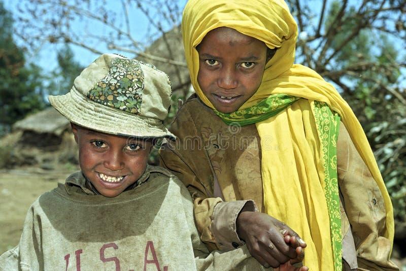 Retrato do grupo de crianças etíopes imagem de stock