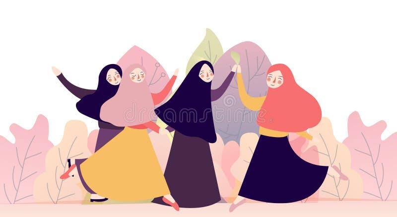 Retrato do grupo feliz de melhores amigos bonitos da menina junto hijab do conceito muçulmano da mulher ou lenço vestindo da cabe ilustração do vetor