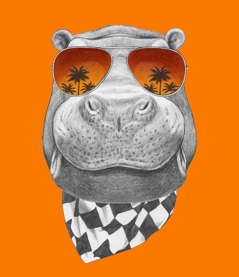 Retrato do hipopótamo com óculos de sol e lenço do espelho ilustração stock