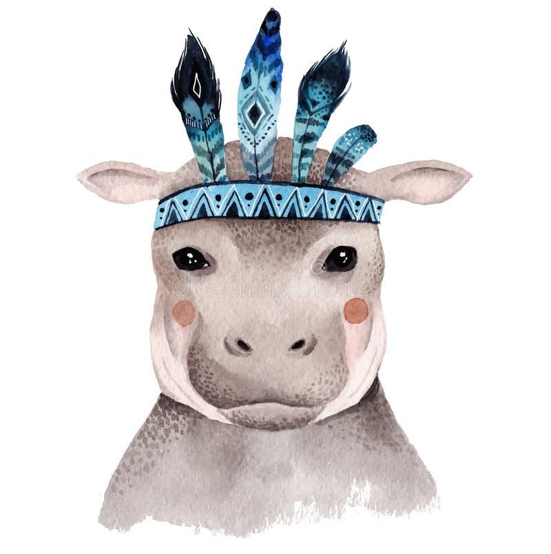 Retrato do hipopótamo da aquarela, ilustração stock