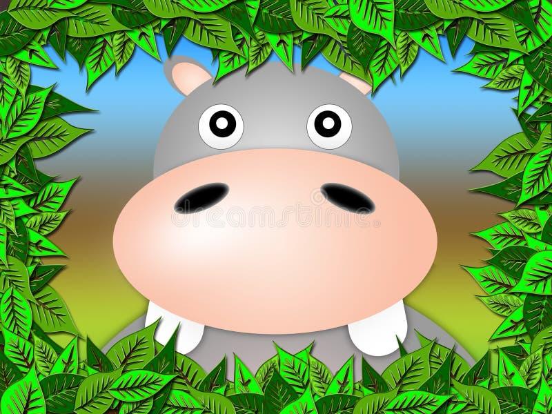 Retrato do hippopotamus ilustração royalty free