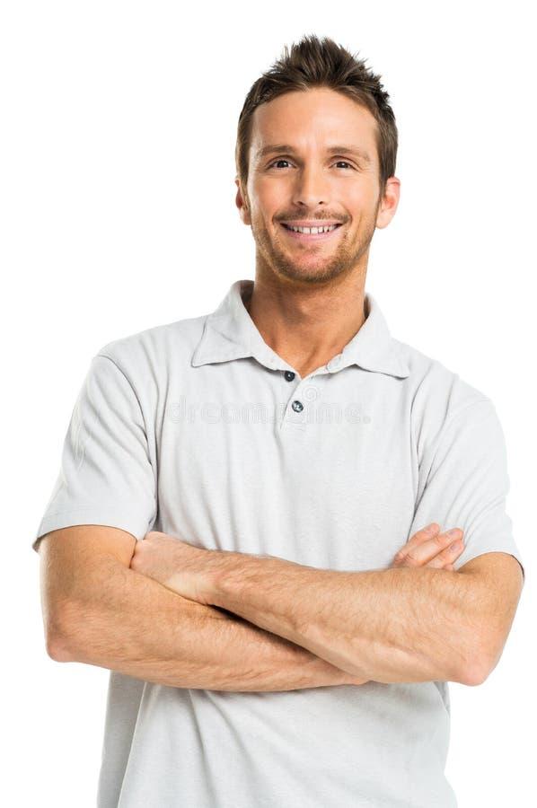 Retrato do homem adulto novo feliz imagens de stock royalty free