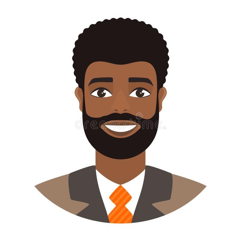 Retrato do homem afro de sorriso Homem de negócios farpado no terno e no laço alaranjado ilustração stock