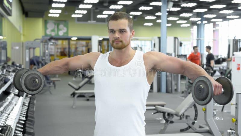 Retrato do homem atlético forte no treinamento do gym o halterofilista faz um exercício para ombros com pesos fotografia de stock royalty free