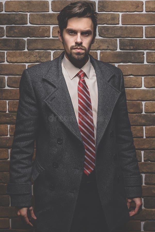 Retrato do homem bem vestido elegante com a barba que levanta fora a vista afastado fotografia de stock royalty free