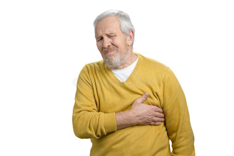 Retrato do homem com curso repentino do coração imagem de stock