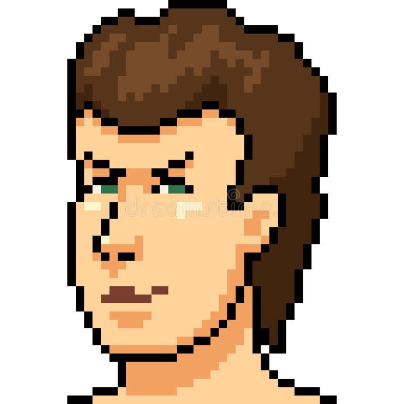 Retrato do homem da arte do pixel do vetor ilustração royalty free