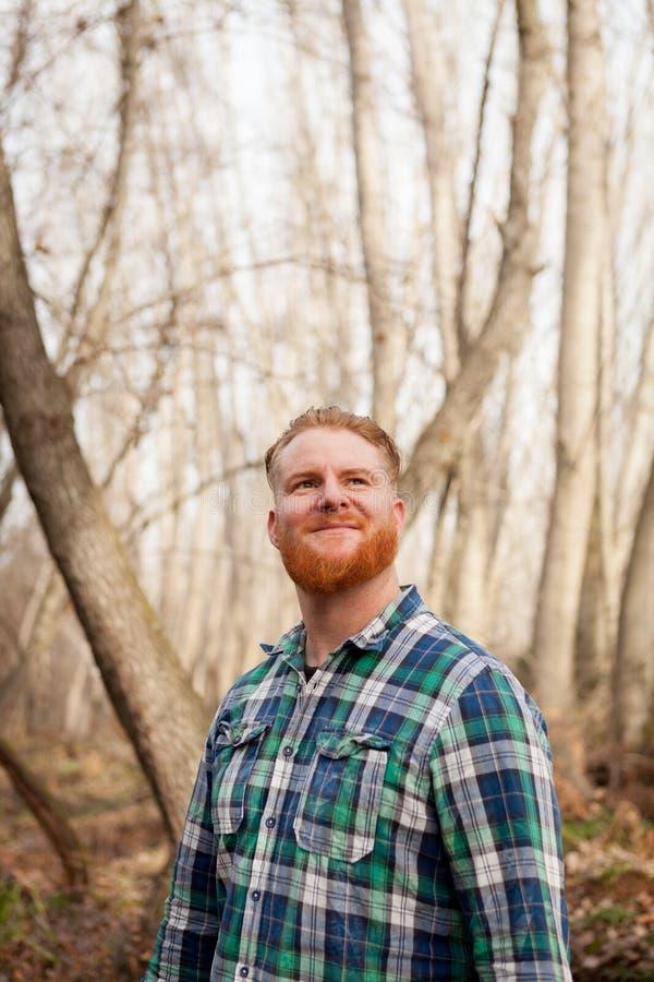Retrato do homem de cabelo vermelho com a barba longa na floresta imagem de stock