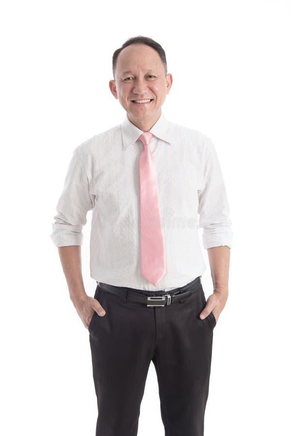 Retrato do homem de negócio asiático no fundo branco foto de stock