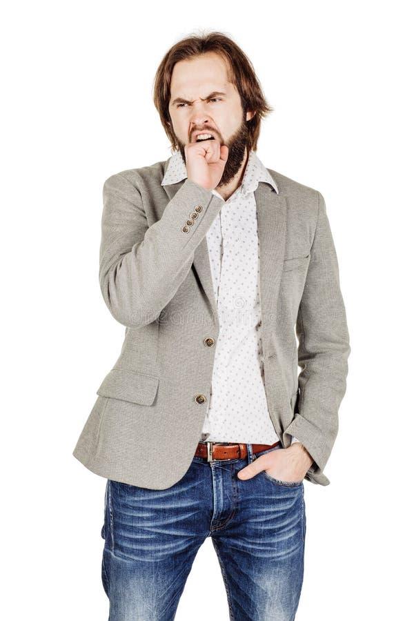 Retrato do homem de negócio farpado que boceja emoções, expre facial fotografia de stock royalty free
