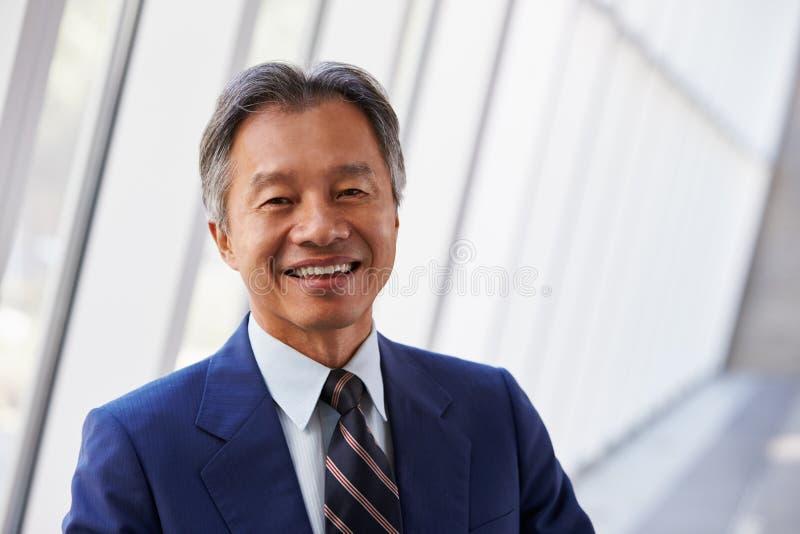 Retrato do homem de negócios asiático In Modern Office fotografia de stock royalty free