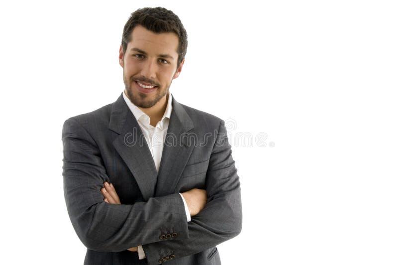 Retrato do homem de negócios com mãos dobradas imagem de stock royalty free