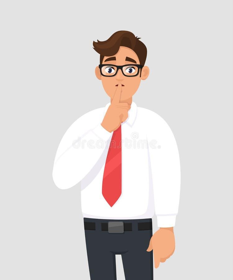 Retrato do homem de negócios considerável novo que faz shh o gesto, mantendo o segredo ou pedindo o silêncio com o dedo nos bordo ilustração stock