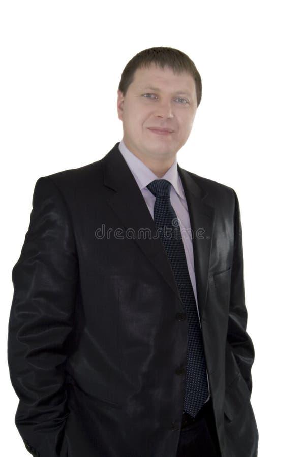 Retrato do homem de negócios considerável sobre o fundo branco imagem de stock royalty free