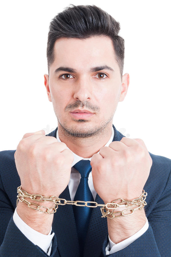 Retrato do homem de negócios corrompido ou advogado com mãos acorrentadas foto de stock royalty free