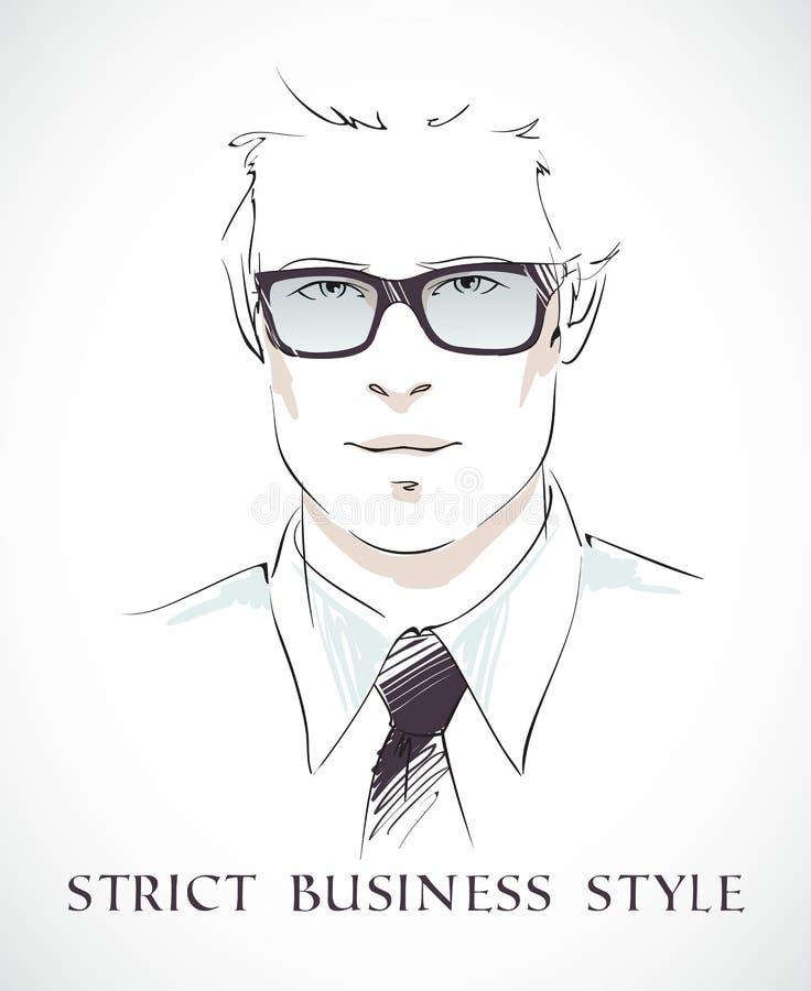Retrato do homem de negócios da forma ilustração stock