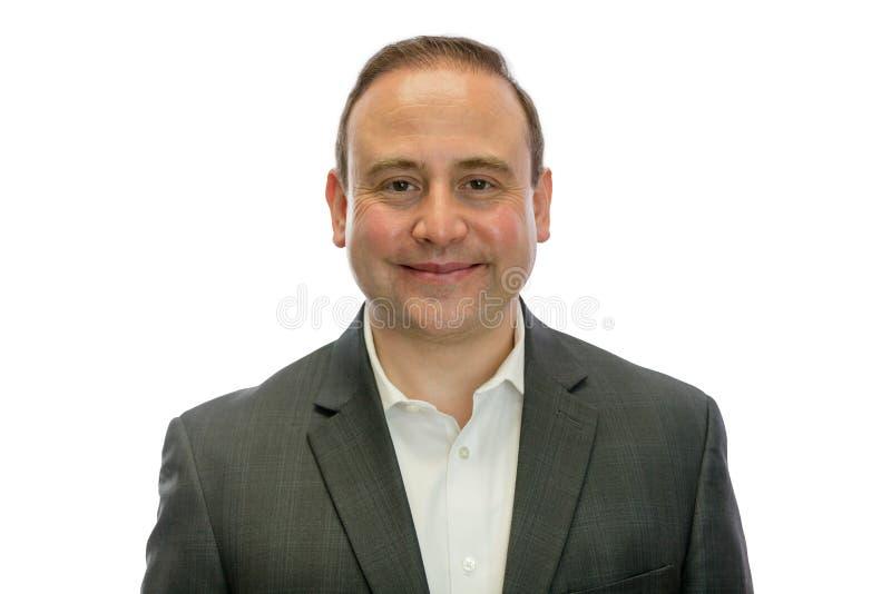 Retrato do homem de negócios feliz, maduro no terno fotografia de stock royalty free