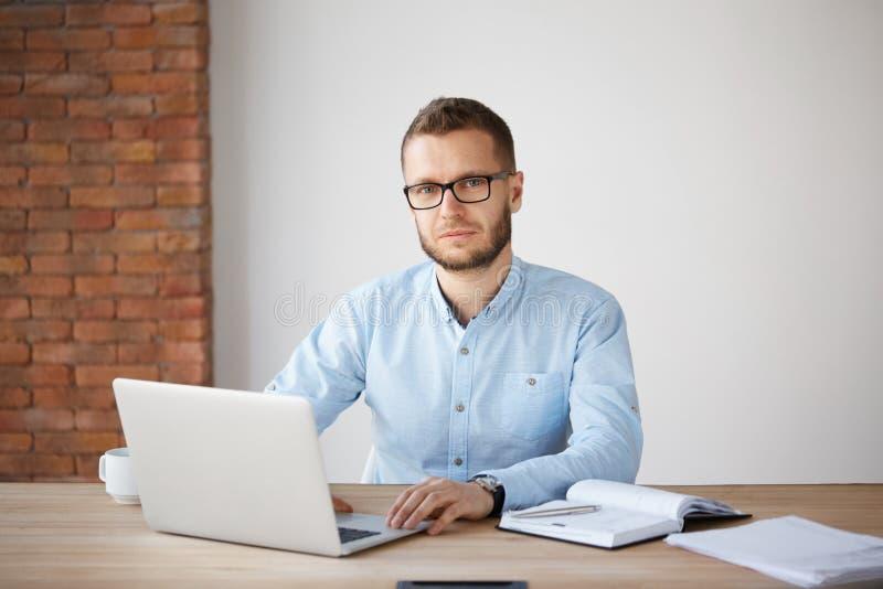Retrato do homem de negócios não barbeado maduro sério nos vidros e na camisa azul que sentam-se na tabela, trabalhando no laptop imagem de stock