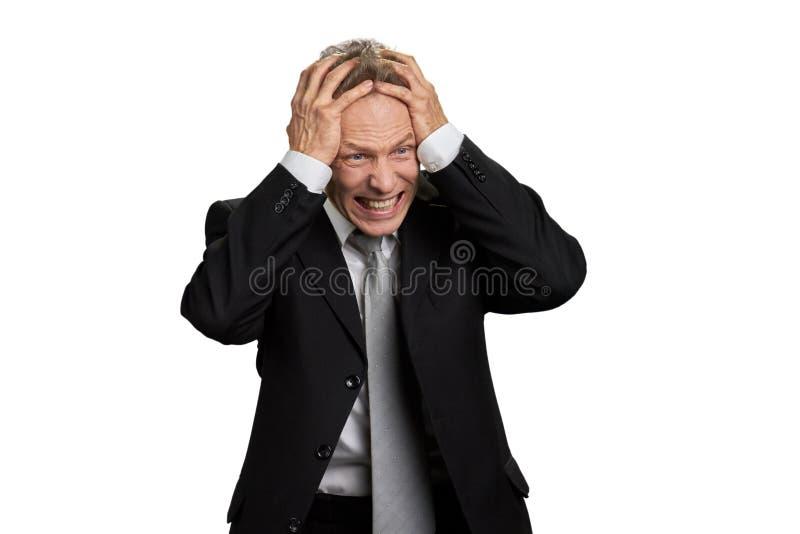 Retrato do homem de negócios no desespero completo imagem de stock royalty free