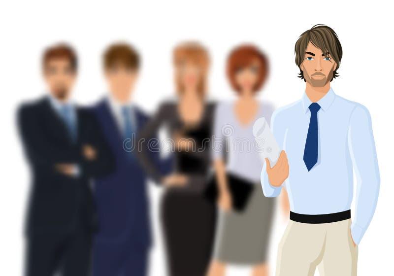 Retrato do homem de negócios novo com equipe do negócio ilustração royalty free
