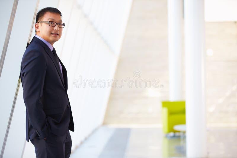 Retrato do homem de negócios que está a recepção moderna do escritório imagem de stock