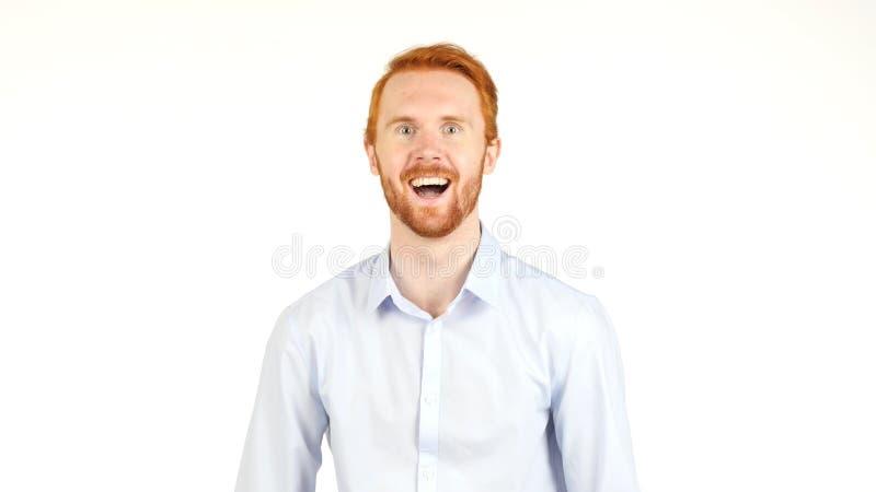Retrato do homem de negócios vermelho de sorriso do cabelo, fundo branco imagem de stock royalty free