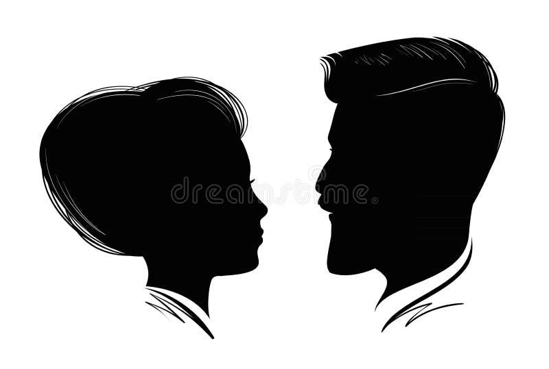 Retrato do homem e da mulher Perfil principal, silhueta preta Casamento, amor, símbolo dos povos Ilustração do vetor ilustração do vetor