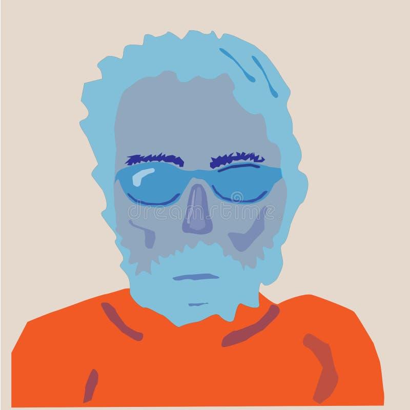 Retrato do homem em cores alaranjadas azuis ilustração royalty free