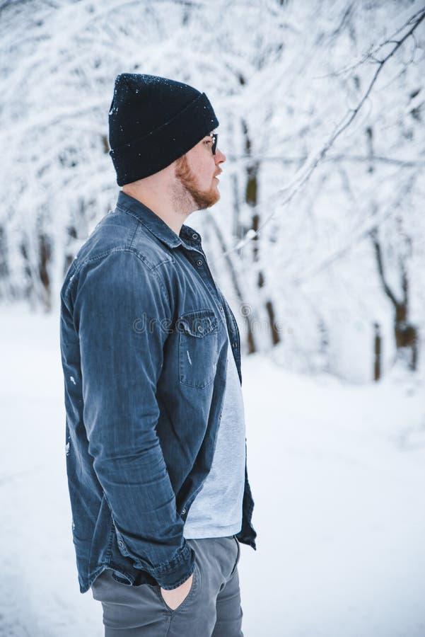 Retrato do homem em vidros e na barba nevados das madeiras fotografia de stock royalty free