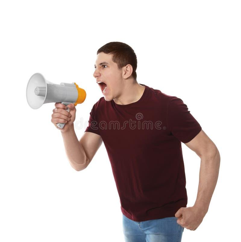 Retrato do homem emocional que usa o megafone fotos de stock royalty free