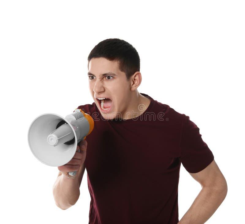 Retrato do homem emocional que usa o megafone imagens de stock