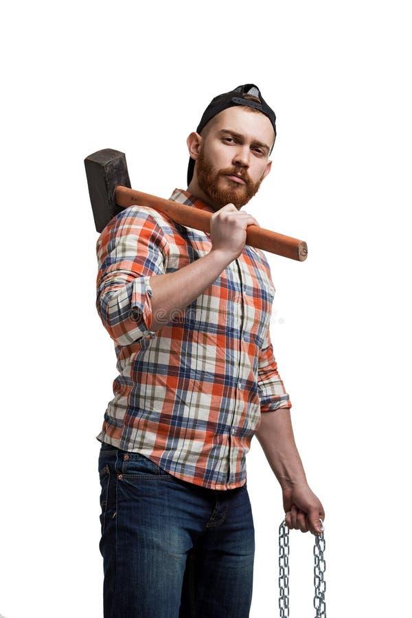 Retrato do homem farpado com martelo fotos de stock royalty free
