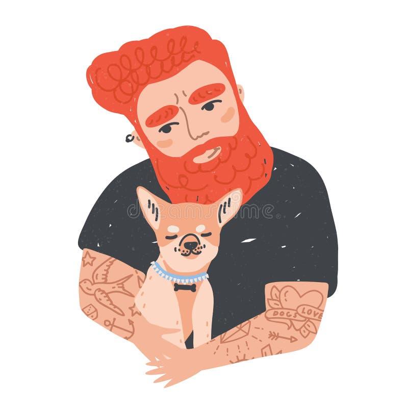 Retrato do homem farpado do ruivo bonito com as tatuagens que guardam seu cão ou cachorrinho Abraço masculino engraçado do person ilustração stock