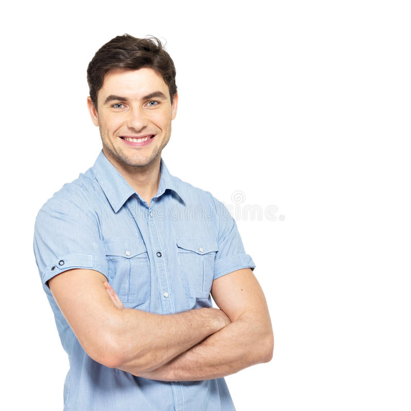 Retrato do homem feliz na camisa ocasional azul imagens de stock royalty free