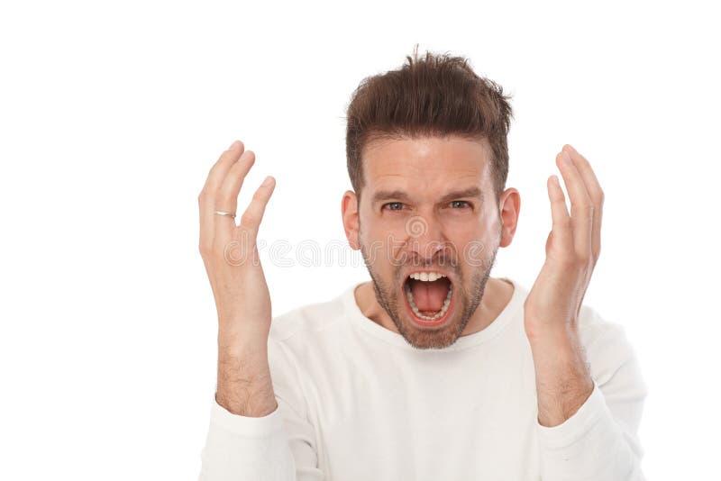 Retrato do homem irritado imagem de stock