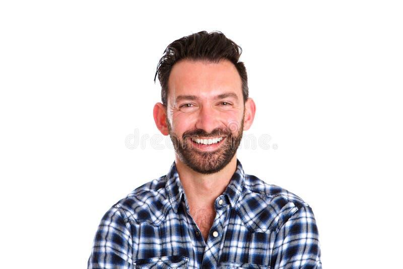 Retrato do homem maduro alegre com barba foto de stock royalty free