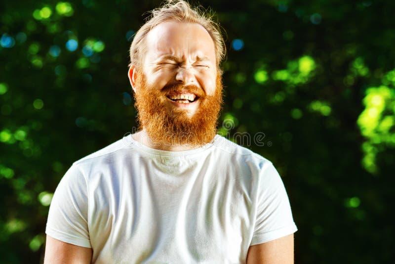Retrato do homem maduro feliz com barba e o bigode vermelhos imagem de stock