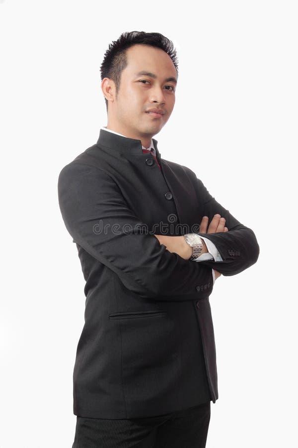 Retrato do homem novo asiático atrativo no terno fotografia de stock royalty free