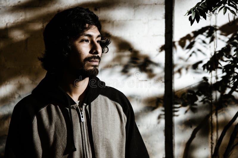 Retrato do homem novo com a camisa vestindo da barba e com sombras das árvores fotos de stock royalty free